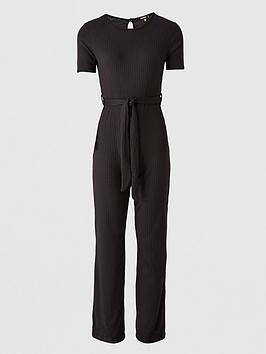 missguided-missguided-rib-short-sleeve-flare-leg-jumpsuit-black