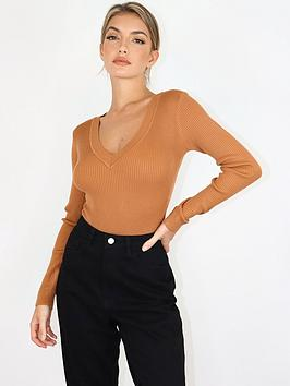 missguided-missguided-skinny-rib-knitted-v-neck-bodysuit-mocha