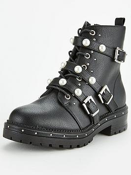 missguided-missguided-pearl-trim-strap-stud-sole-biker-boots-black