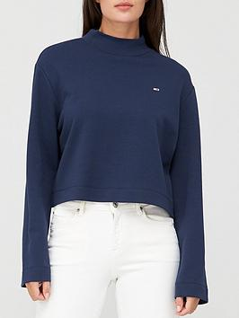 tommy-jeans-solid-hybrid-long-sleeve-jumper-navy