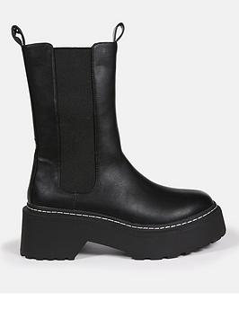 missguided-missguidednbsppull-on-tab-detailnbspankle-boot-black