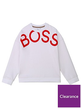 boss-girls-logo-crew-sweat-white