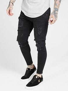 sik-silk-distressed-skinny-jeans-black
