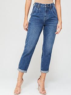 v-by-very-pleat-top-mom-jean-dark-wash