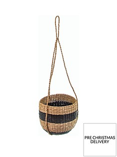 sass-belle-black-stripe-hanging-seagrass-planter