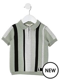 river-island-mini-boys-stripe-zip-polo-green