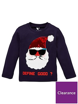 mini-v-by-very-unisex-christmas-reversible-sequin-santa-define-good-long-sleeve-t-shirt-navy