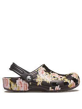 crocs-floral-clog-flat-shoe-black