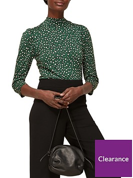 whistles-leopard-puff-print-high-neck-top-green