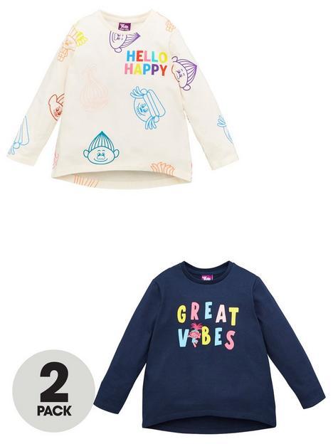 dreamworks-trolls-girls-troll-2-pack-great-vibes-long-sleeve-t-shirts-multi