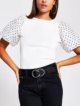 river-island-spot-lace-puffball-sleeve-tee-white