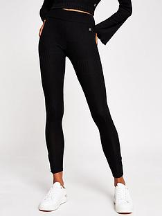 river-island-jersey-ribbed-legging-black