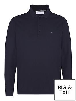 calvin-klein-refined-pique-long-sleevenbsppolo-shirt-navy
