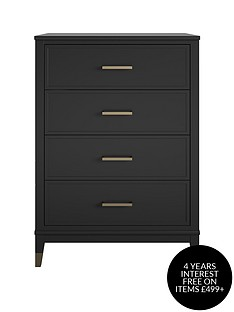 cosmoliving-by-cosmopolitan-westerleigh-4-drawer-chest-blackgold