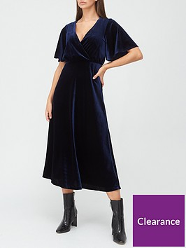 v-by-very-velvet-wrap-midi-dress-navy