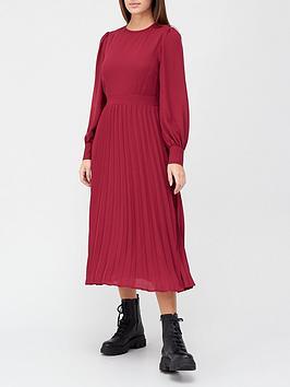 v-by-very-round-neck-georgette-midi-dress-burgundy