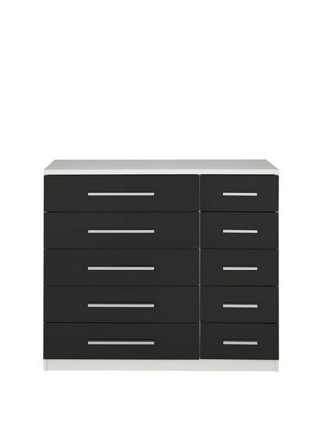 messina-gloss-5-5-drawernbspchest-in-whiteblacknbsp