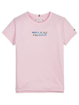 tommy-hilfiger-girls-iridescent-logo-short-sleeve-t-shirt-pink