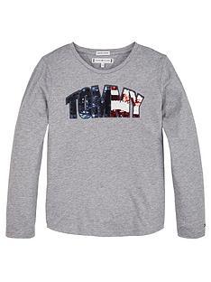 tommy-hilfiger-girls-long-sleeve-sequin-logo-t-shirt-grey-marl