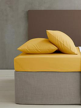 Product photograph showing Catherine Lansfield Easy Iron Percale Fitted Sheet Ndash Ochre