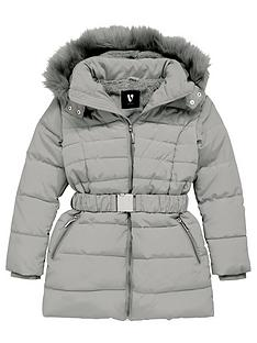 v-by-very-girls-shower-proofnbspfaux-fur-hooded-belted-coat-grey