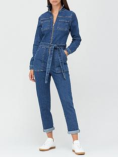 v-by-very-long-sleeve-zip-through-denim-jumpsuit-dark-wash