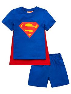 superman-boysnbspremovable-cape-detail-shortie-pjs-blue