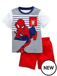 spiderman-boysnbspstripe-shortie-pjs-red