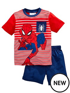 spiderman-boysnbspstripe-shortie-pjs-blue