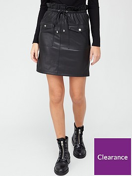v-by-very-paperbag-waist-faux-leather-a-line-mini-skirt-black