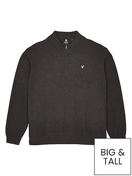 lyle-scott-big-amp-tallnbspquarter-zip-moss-stitch-jumper-charcoalnbsp