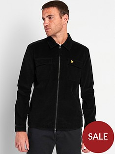 lyle-scott-cord-zip-through-overshirt-black
