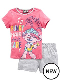 dreamworks-trolls-girlsnbspfunky-hair-donrsquot-care-shortie-pjs-pink