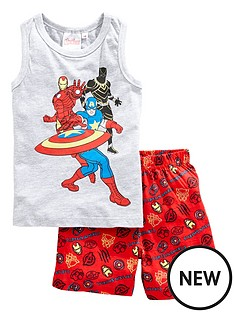 the-avengers-boys-marvel-avengers-vest-and-short-pjs-greymulti