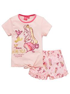 disney-sleeping-beauty-girlsnbsptie-detail-shortie-pjs-pink