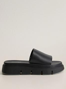 mango-cleated-sole-leather-slider-black