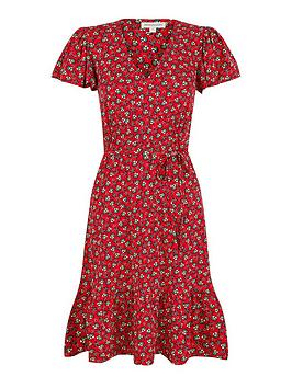 monsoon-printed-short-jersey-dress-red
