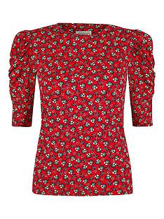 monsoon-printed-jersey-puff-sleeve-top-red