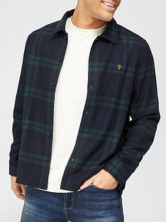 farah-drummond-check-long-sleeve-overshirt-olivenbsp
