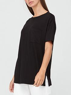 v-by-very-pocket-side-split-longline-t-shirt-black