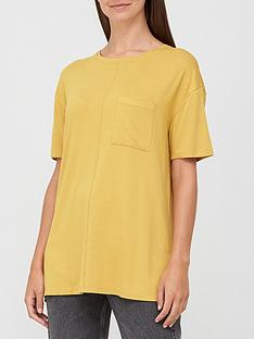v-by-very-pocket-side-split-longline-t-shirt-mustard