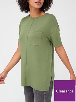 v-by-very-pocket-side-split-longline-t-shirt-khaki