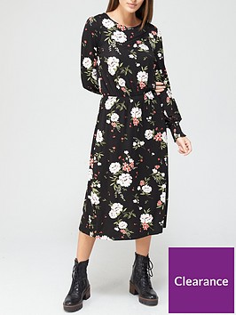 v-by-very-shirred-cuff-long-sleevenbspmidi-dress-floralnbsp