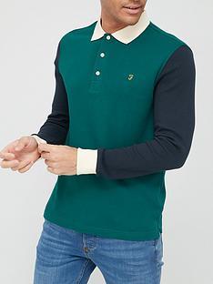 farah-hearsall-long-sleeve-polo-shirt-emerald