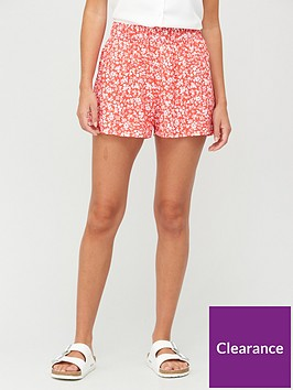 v-by-very-shirred-waist-shorts-red-floral