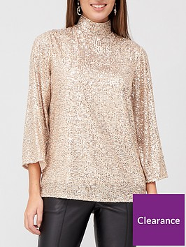 v-by-very-high-neck-sequin-top-champagne