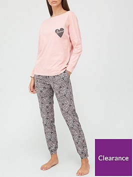 v-by-very-chest-print-slouchy-top-pyjamas-pink
