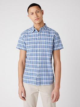 wrangler-short-sleeve-check-shirt-blue