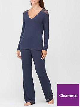 v-by-very-long-sleeve-lace-insert-pyjamas-blue