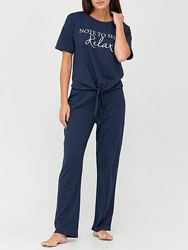 v-by-very-relax-knot-front-pyjamas-navy